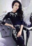 D1194 Sexy O-Neck Beaded 1/2 Sleeve Black Formal Evening Gown