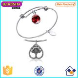 Wholesale Alloy Antique Heart Charm Expandable Bangle