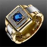 Luxurious Natural Blue Crystal Charm Gold Ring Charming Men's Fashion Ring European American Style Male Engagement Jewelry