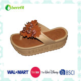 Girl′s Slippers with Wedge Sole, PVC Sole and Upper, Flower Decoration