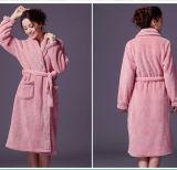 Lady′s Bath Robe /Cotton Fleece Bath Robe /Women′s Bath Robe