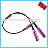 Metal 3.5mm Golden Jack Earphone Splitter Y Cable