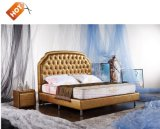 French Style Queen Size Carved Wood Bed Designs for Hotel Bedroom