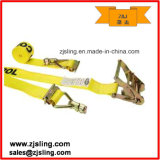 """E Track Strap W/ Spring E-Fittings & Double Stud 2"""" X 12′ Yellow"""