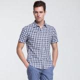 Men′s Plaid 100% Cotton Stand Neck Short Sleeve Dress Shirt