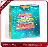 Birthday Carrying Paper Carry Bags Hologram Printing Gift Bags with Hang Tag