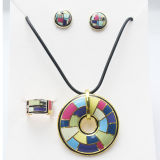 Gold Plating 925 Silver Jewelry Set with Color Enamel