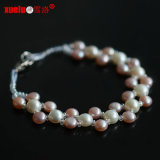 Fashion Bracelet Jewelry Coin Natural Freshwater Pearl Double Strand Bracelet
