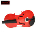 Red Plywood Student Violins with Free Case for Hot Sale