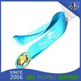 Light Blue Sublimation Promotional Soft Fabric Medal Ribbon