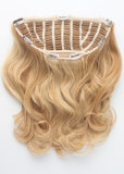 Light Brown18# Super Quality New Popular Sale for Half Head 100% Human Hair Clip on Half Wig/Hairpiece