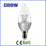 5W Silver Flower E14 C37 LED Candle Bulb Light (C37-867-IC-S)