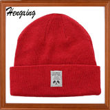 Red Knitted Beanie Hat with Patch Knitted Hats