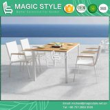 White Color Textile Dining Chair and Table with Plastic Slat