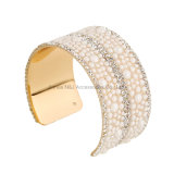 New Gold Arm Cuff Wide Full Rhinestone Bangles Women 2017 Fashion Alloy Ladies Luxury Bracelets Women Jewelry
