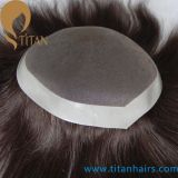 Natural Human Hair Men′s Hair Replacement Systems