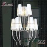 European Decorative Chrome Pendant Lamp with Fabric Shade for Hotel