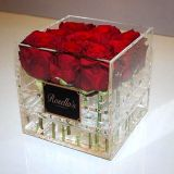 Luxury Romantic Clear Acrylic Rose & Flower Box Flower Display Case