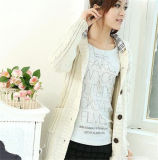 Latest Single Breasted Casual Long Trench Knitting Women′s Cardigan with Hood