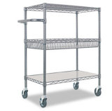 3 Tiers Mobile Handle Wire Shelving