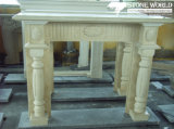 Granite/Marble Statue Fireplace Mantle/Mantels with Electric Fireplace for Indoor (SC037)