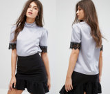 Ladies Round Collar Blouse with Short Sleeve Women Blouse
