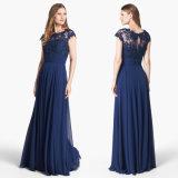 Blue Chiffon Evening Dress A-Line Lace Party Prom Dress W1471924
