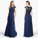 Blue Chiffon Evening Dress A-Line Lace Saab Party Prom Dress W1471924