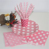 Biodegradable Paper Straws, Pink and White Striped, Box of 144