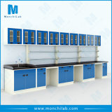 Steel Lab Wall Bench with Wall Mounted Cabinet