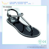Casual Ladies Women Flat Clip Toe PVC Sandals with Rhinestone