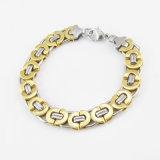 Men Bangle Fashion Jewelry Two Tone Stainless Steel Charm Bracelet