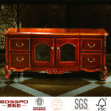 Carved Door Solid Hard Wood French Entertainment Unit TV Stand (GSP15-016)