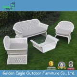 White Rattan Outdoor Furniture Elegant Chairs and Table