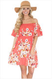 Ruffle off Shoulder Floral Boho Dress&Nbsp;