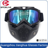 Motorcycle Motocross Face Mask with Detachable Goggles and Mouth Filter for Modular Moto Helmets