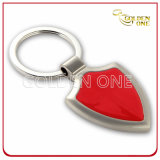 Custom Pearl Plated Shield Shape Metal Keychain
