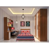 Bedroom Furniture Wooden Grain and White Melamine Reach-in Closet