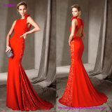Sleeveless Lace Back Fishtail Evening Dress