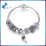 Openwork Heart Charm Bracelets with Purple Crystal Beads Bracelets & Bangles for Women Jewelry