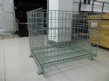 Folding Warehouse Steel Metal Wire Rolling Storage Cage