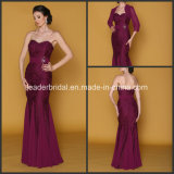 Strapless Burgundy Lace Tulle Pleat Beading Evening Dresses with Jacket M40253