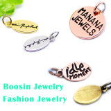 Custom Metal Logo Engraved Gold/Silver Jewelry Tag Charm