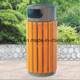 Outdoor Recycling Rubbish Barrel, Wooden Rubbish Bin for Park