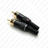 Golden RCA Male Plug Audio Connector W Metal Spring Soldering Adapter