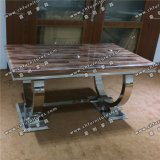 Hot Selling Stainless Steel Marble Dining Table for Living Room Furniture Yc-St34