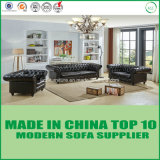 Nordic Style Chesterfield Leather Sofa Set with Wooden Frame