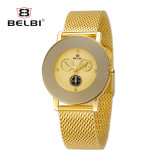 Belbi Ultra-Thin Stainless Steel Big Dial Fake Three Eyes Six Pin Design Women Watch