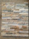 Chinese Wooden Yellow Slate Culture Stone Wall Cladding