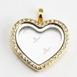 New Design Gold Heart Locket Pendant with Crystal (FL)